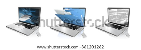 illustration 3d  from 3 laptop on white background - stock photo