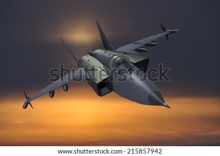 illustration 3d model of jetfighter at sunset - stock photo
