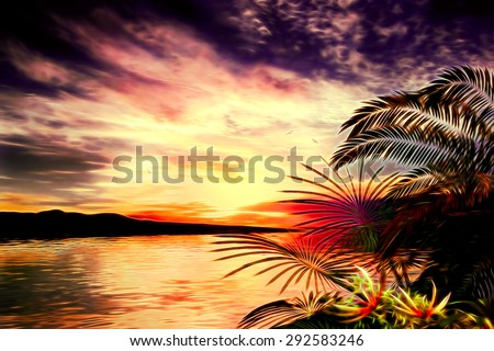 illustration 3D of tropical landscape where it is observed in highlighting the background a dark mountain with a colored sky and clouds - stock photo