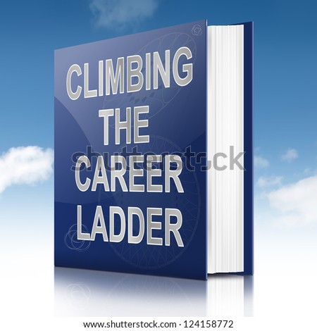 Illustration depicting a book with a career ladder concept title. Sky background.