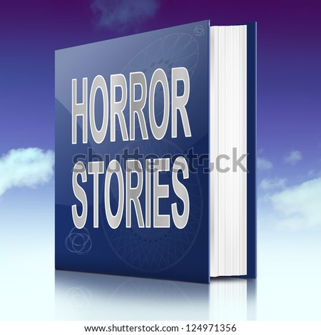 Illustration depicting a book with a horror stories concept title. Sky background.