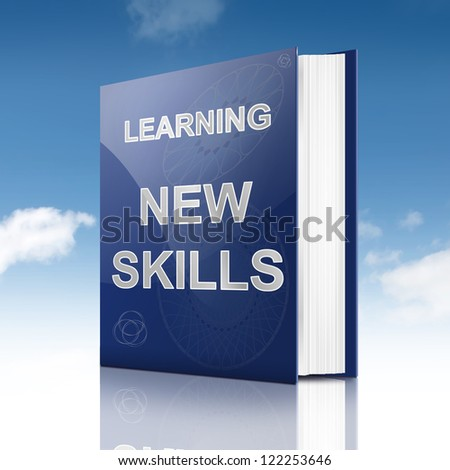 Illustration depicting a book with a new skills concept title. Sky background.