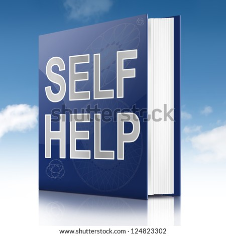 Illustration depicting a book with a self help concept title. Sky background.