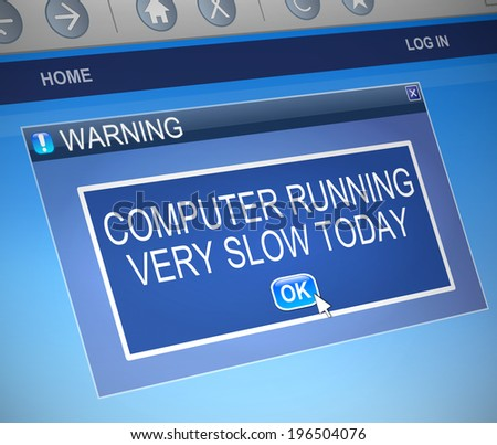 Illustration depicting a computer dialogue box with a slow computer concept. - stock photo