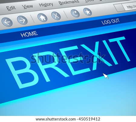 Illustration depicting a computer screen capture with a Brexit concept. - stock photo
