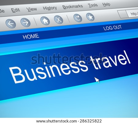 Illustration depicting a computer screen capture with a business travel concept.