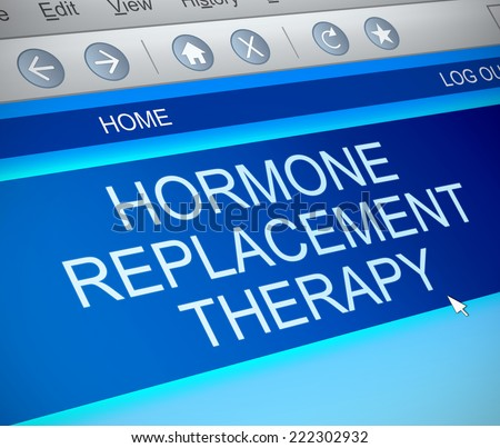 Illustration depicting a computer screen capture with a hormone replacement therapy concept. - stock photo