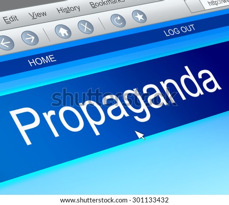 Illustration depicting a computer screen capture with a propaganda concept. - stock photo