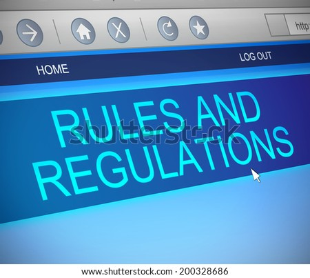 Illustration depicting a computer screen capture with a rules and regulations concept. - stock photo