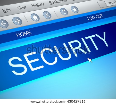 Illustration depicting a computer screen capture with a security concept. - stock photo