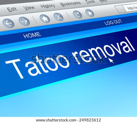 Illustration depicting a computer screen capture with a tatoo removal concept.
