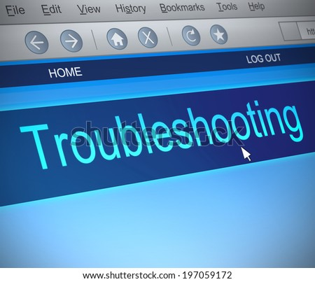 Illustration depicting a computer screen capture with a troubleshooting concept. - stock photo