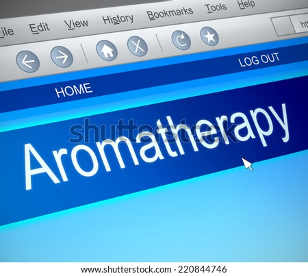 Illustration depicting a computer screen capture with an Aromatherapy concept.