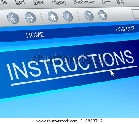 Illustration depicting a computer screen capture with an instructions concept. - stock photo