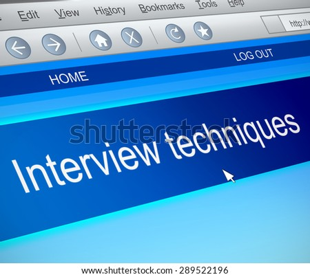 Illustration depicting a computer screen capture with an interview techniques concept.