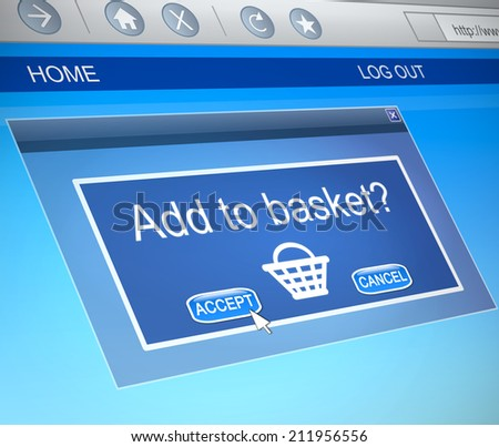 Illustration depicting a computer screen capture with an online shopping concept.