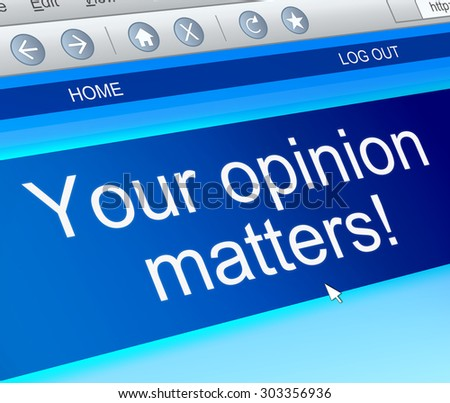 Illustration depicting a computer screen capture with an opinion concept. - stock photo