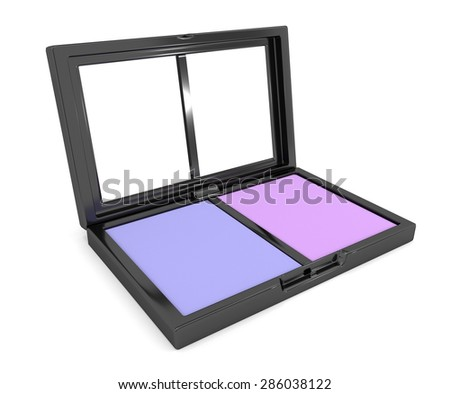 Illustration depicting a cosmetic eye shadow compact powder arranged over white. - stock photo