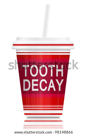 Illustration  depicting a fast food drink container with a tooth decay concept. Arranged over white.