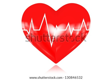 Illustration depicting a graph from a heart beat and a heart