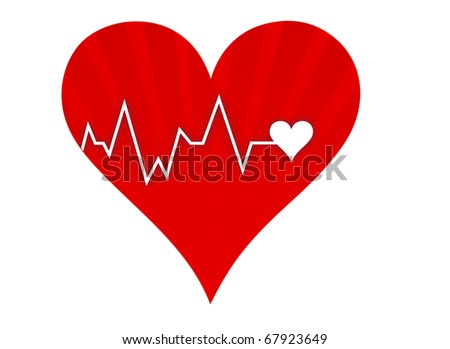 Illustration depicting a graph from a heart beat and a heart isolated over a white background.