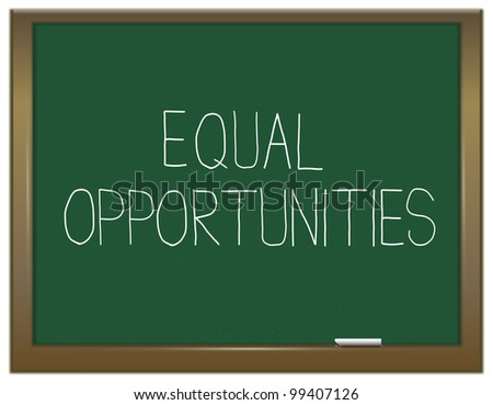 Illustration depicting a green chalkboard with an equal opportunities concept written on it. - stock photo