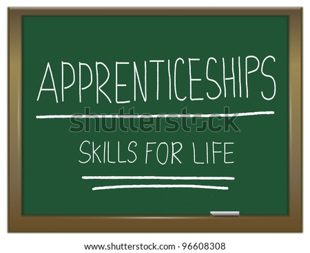 Illustration depicting a green chalkboard with  APPRENTICESHIP SKILLS FOR LIFE written on it in white. - stock photo