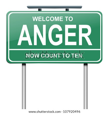 Illustration depicting a green roadsign with an anger concept. White background. - stock photo