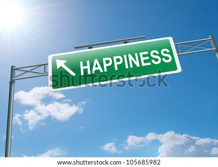 Illustration depicting a highway gantry sign with a happiness concept. Blue sky background.