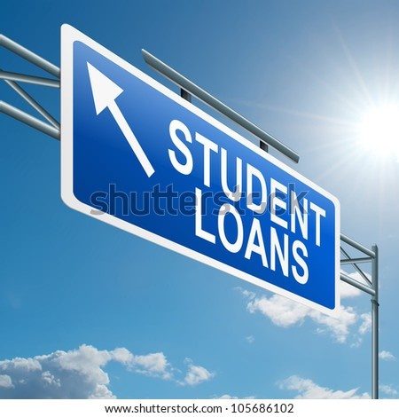 Illustration depicting a highway gantry sign with a student loans concept. Blue sky background. - stock photo