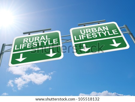 Illustration depicting a highway gantry sign with an urban or rural lifestyle concept. Blue sky background.