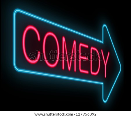 Illustration depicting a neon signage with a comedy concept. - stock photo