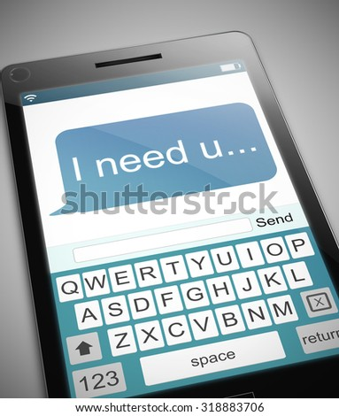 Illustration depicting a phone with a need message concept.