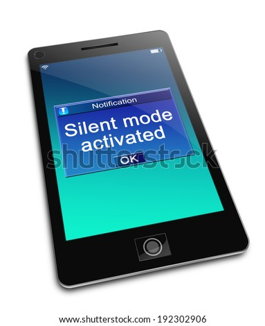 Illustration depicting a phone with a silent mode concept. - stock photo