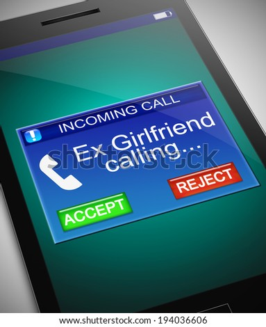 Illustration depicting a phone with an ex girlfriend calling concept. - stock photo
