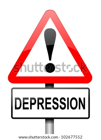 Illustration depicting a red and white triangular warning sign with a depression concept. White background. - stock photo