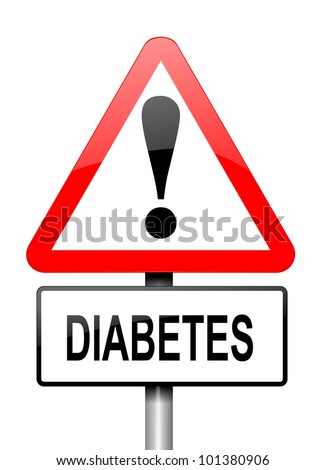 Illustration depicting a red and white triangular warning sign with a diabetes concept. White background.