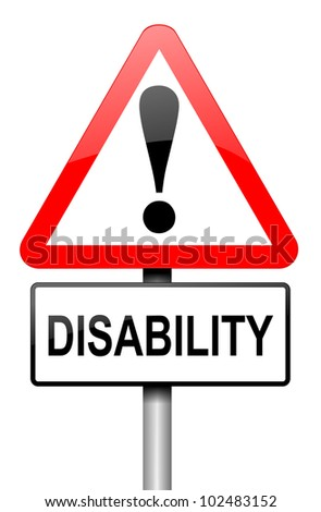 Illustration depicting a red and white triangular warning sign with a 'disability' concept. White background. - stock photo