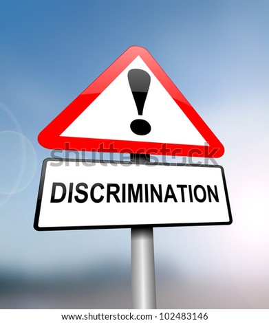 Illustration depicting a red and white triangular warning sign with a 'discrimination' concept. Blurred  background.