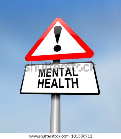 Illustration depicting a red and white triangular warning sign with a mental health concept. Blurred sky background. - stock photo
