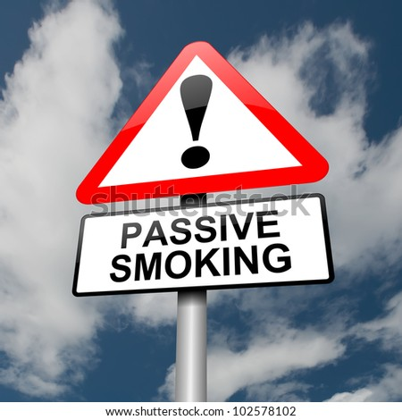 Illustration depicting a red and white triangular warning sign with a 'passive smoking' concept. Clouds and sky background. - stock photo