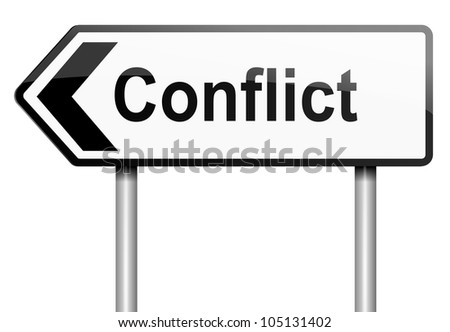 Illustration depicting a road traffic sign with a conflict concept. White background. - stock photo