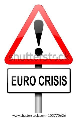 Illustration depicting a road traffic sign with a Euro crisis concept. White background. - stock photo