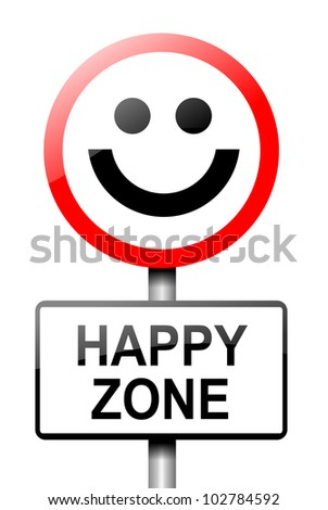 Illustration depicting a road traffic sign with a happiness concept. White background. - stock photo