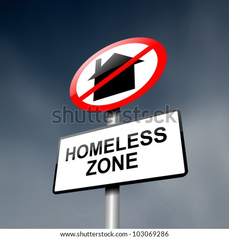 Illustration depicting a road traffic sign with a homeless concept. Dark sky background. - stock photo