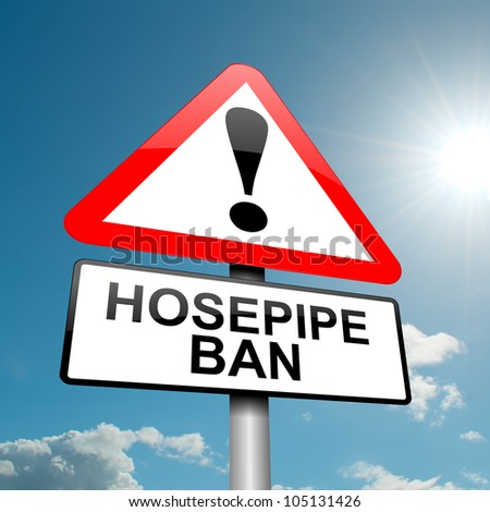 Illustration depicting a road traffic sign with a hose pipe ban concept. Blue sky background.
