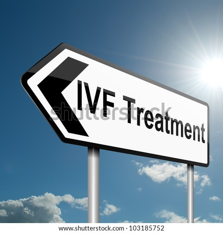 Illustration depicting a road traffic sign with a IVF concept. Blue sky background.