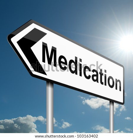 Illustration depicting a road traffic sign with a medication concept. Blue sky background.