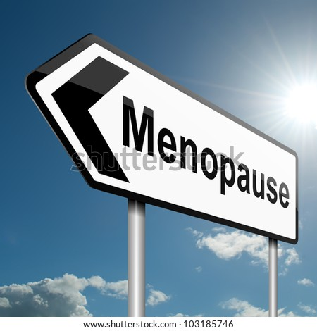 Illustration depicting a road traffic sign with a menopause concept. Blue sky background.