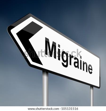 Illustration depicting a road traffic sign with a migraine concept. Dark sky background. - stock photo